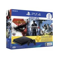 Ігрова консоль SONY PlayStation 4 Slim 500 Gb Black(HZD+GOW3+UC4+PSPlus 3М)
