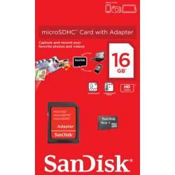 Карта пам'яті SanDisk microSDHC 16GB + SD адаптер Class 4