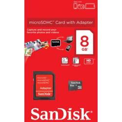 Карта пам'яті SanDisk microSDHC 8GB + SD адаптер Class 4
